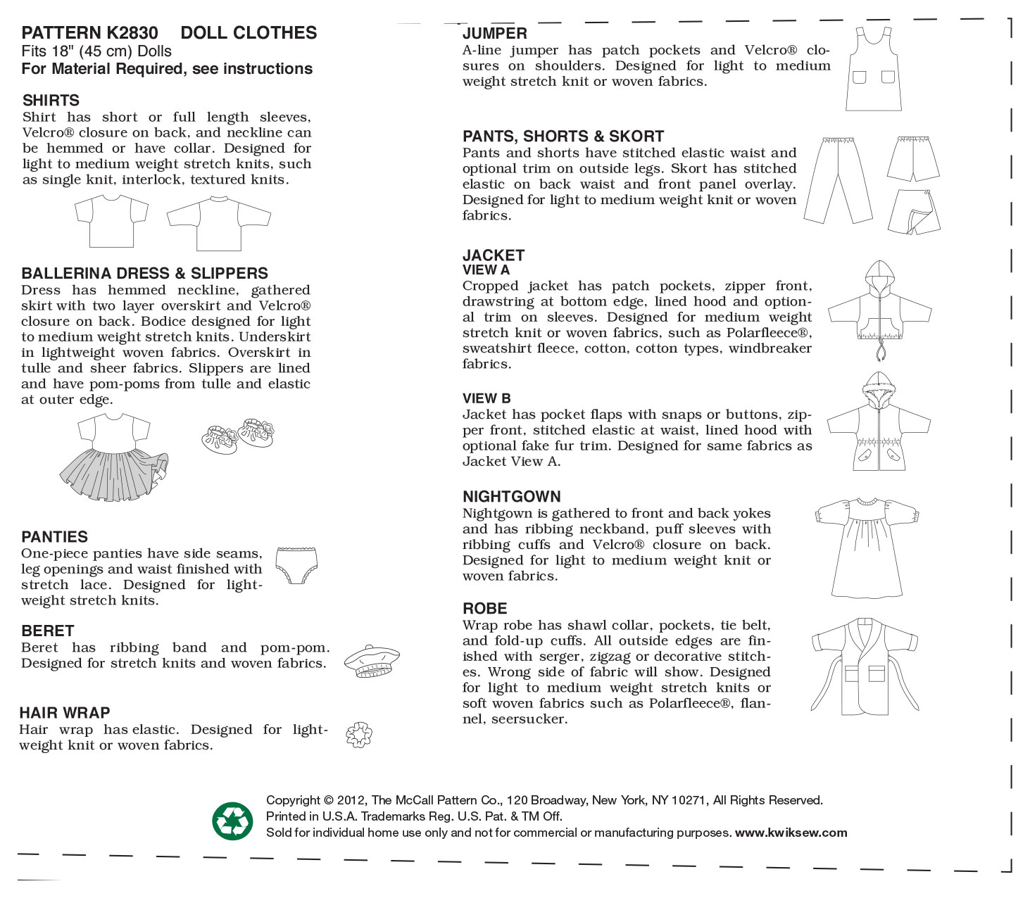 Kwik Sew Crafts Doll Clothes-K2830
