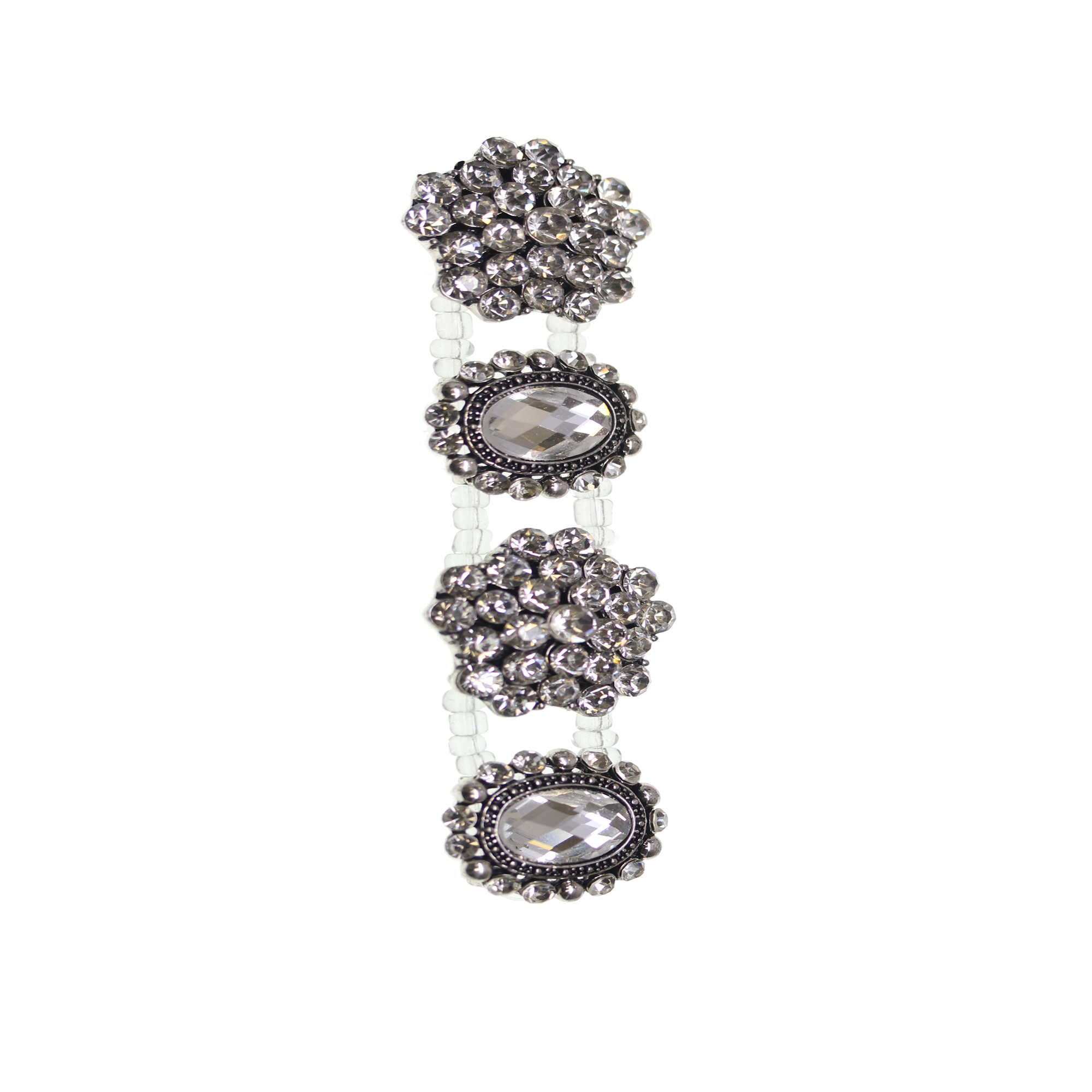 Crystal Silver Flower Mix Slider