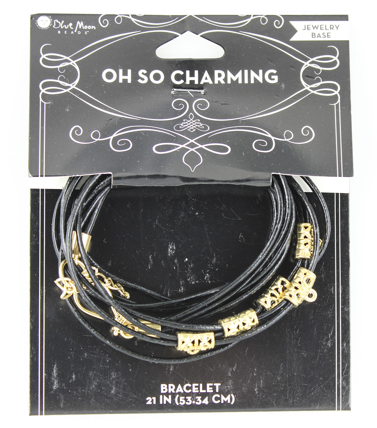 Blue Moon Beads Oh So Charming Bracelet Black Leather Wrap Gold Charms