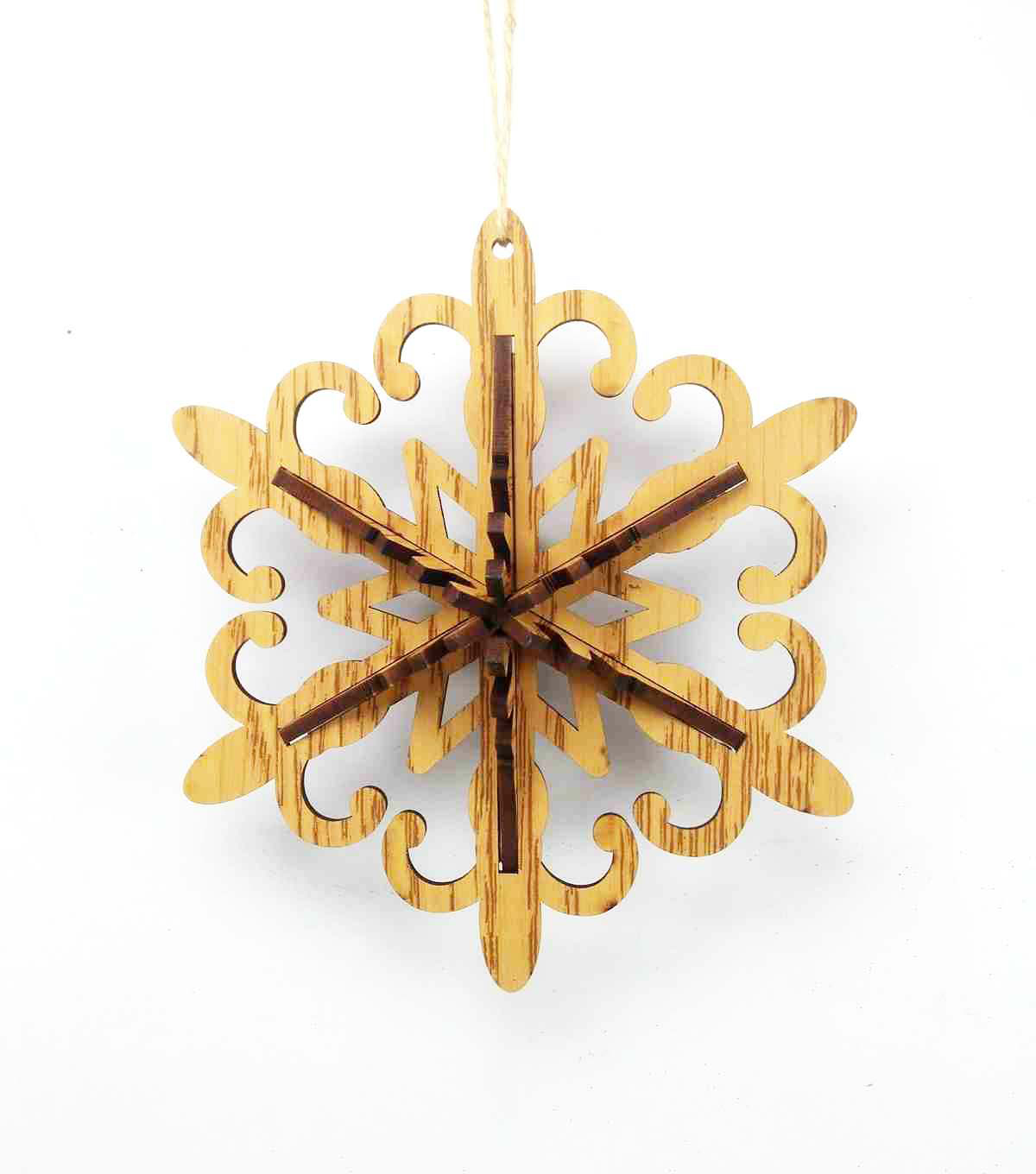 Maker\u0027s Holiday Christmas Woodland Lodge Laser Cut Snowflake Ornament