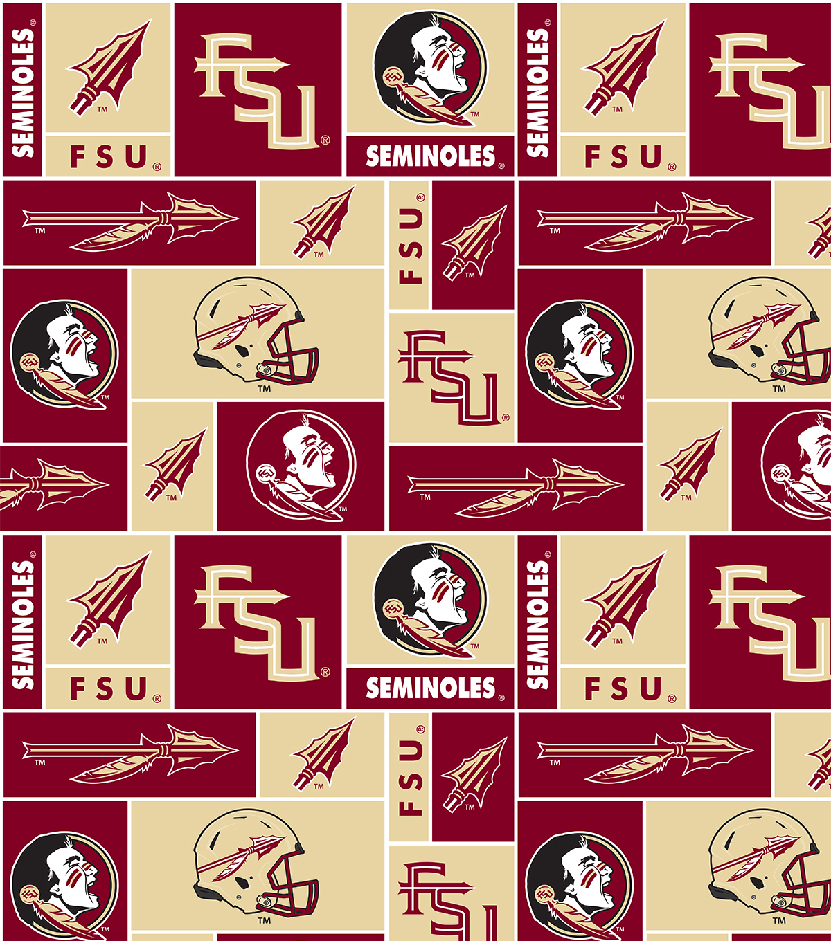 Florida State University Seminoles Fleece Fabric 58\u0022-Block
