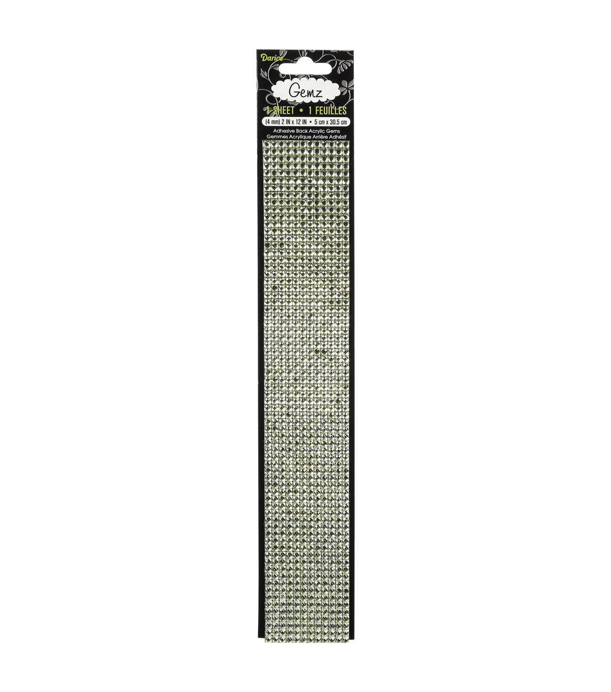 Gemz Self-Stick 4mm Black Diamond Gems, 2\u0022 x 12\u0022 Sheet