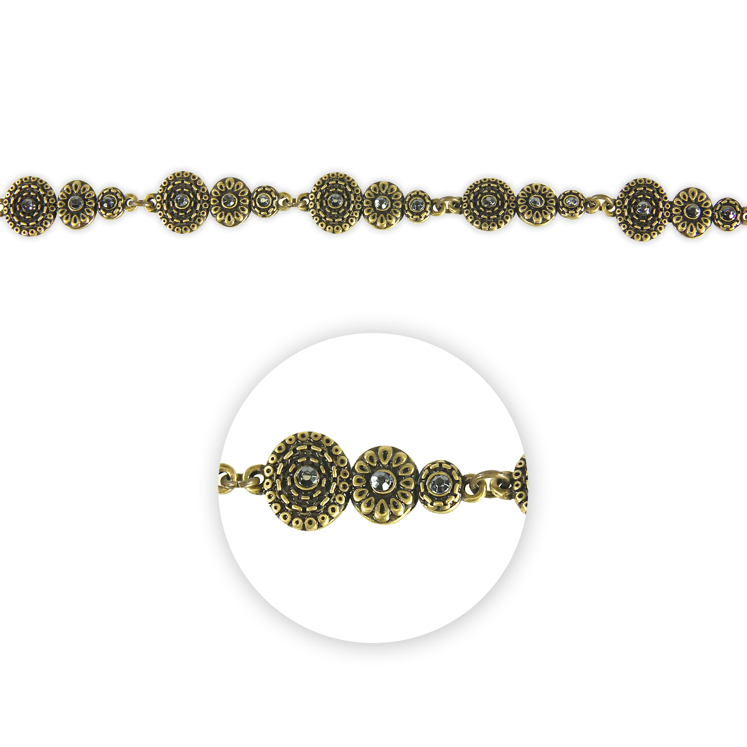Blue Moon Beads Connector Strand 7\u0022 Metal Triple Circle, Ox Brass with Rhinestones