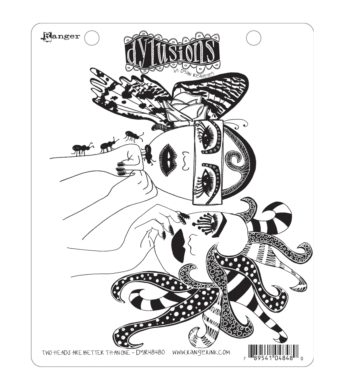 Dylusions Cling Rubber Stamp Set-Two Head Are Better Than One