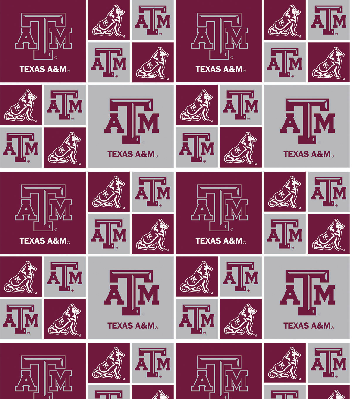"Texas A&M University Aggies Cotton Fabric 43""-Block"