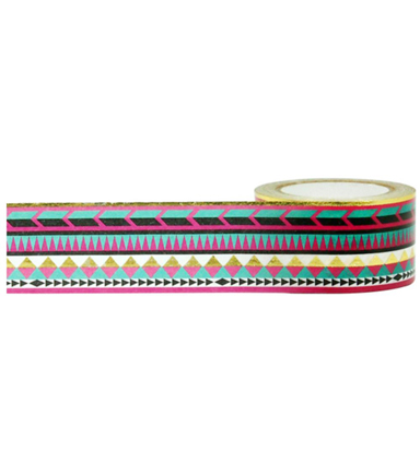 Little B Decorative Foil Tape 1''x33'-Gold Tribal