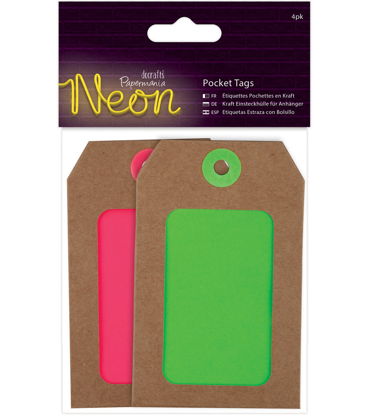 Papermania 4ct Neon Pocket Tags