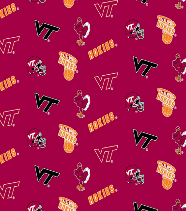 Virginia Tech Hokies Cotton Fabric 44\u0022-Red All Over