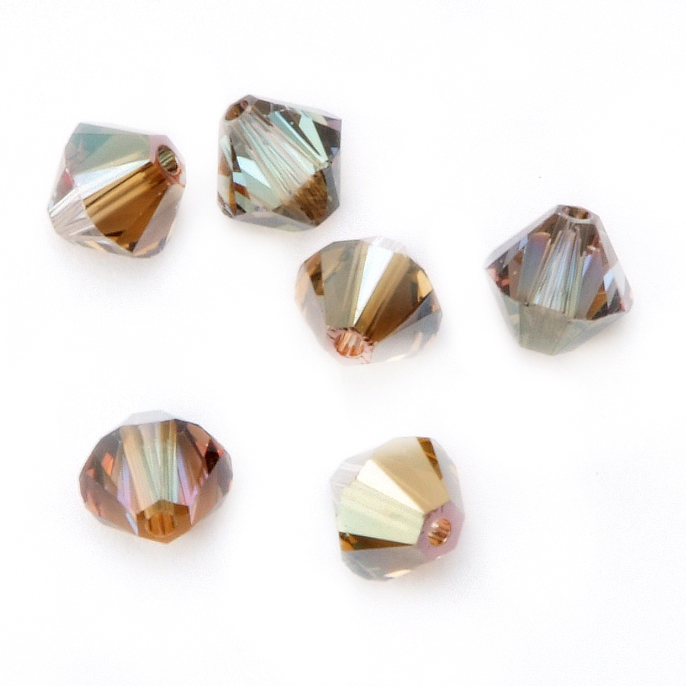 6mm Xilion Cut Bicone Crystal Beads, Bronze Shading