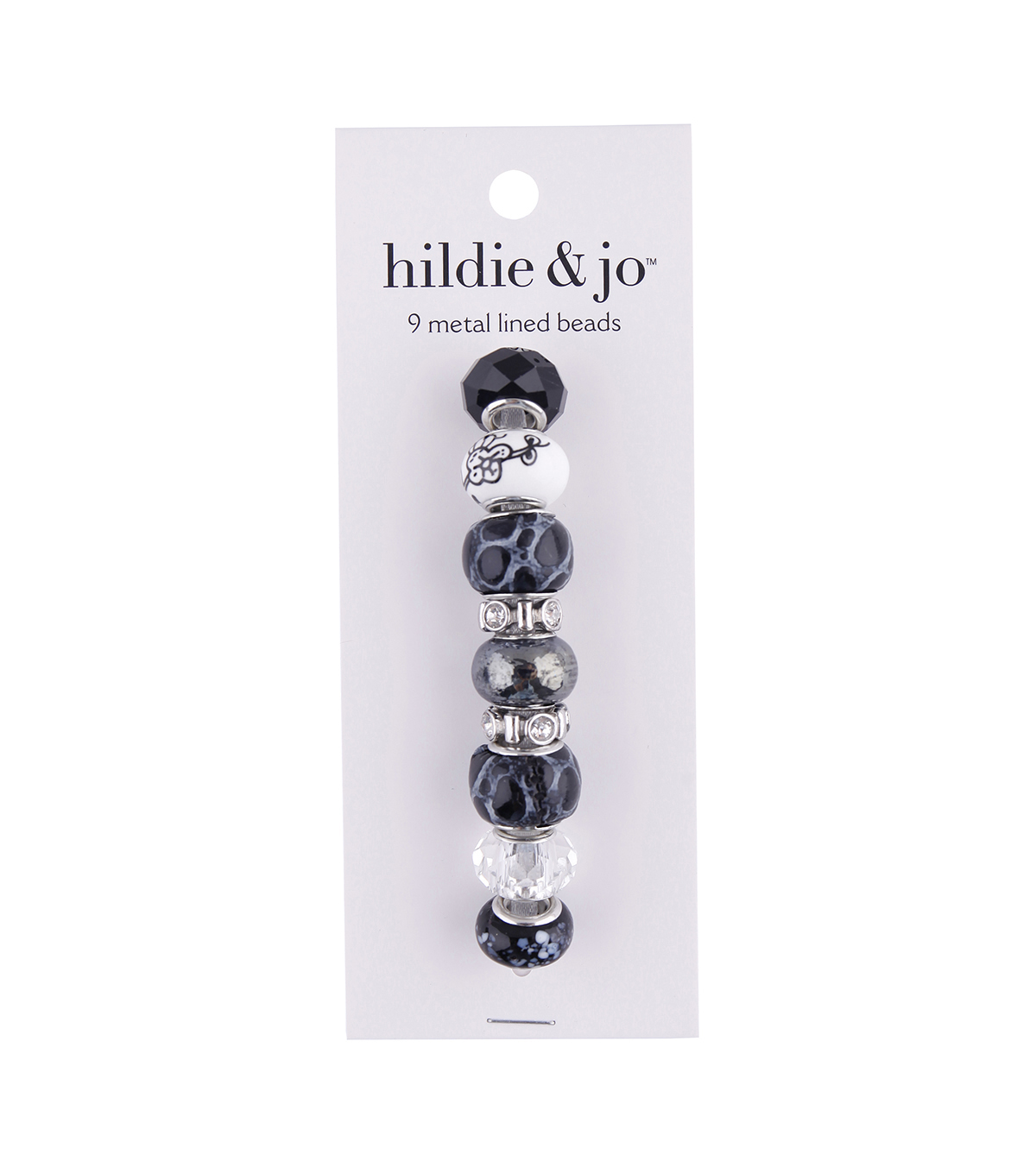 hildie & jo™ Metal Lined Glass Beads-Black, White & Clear