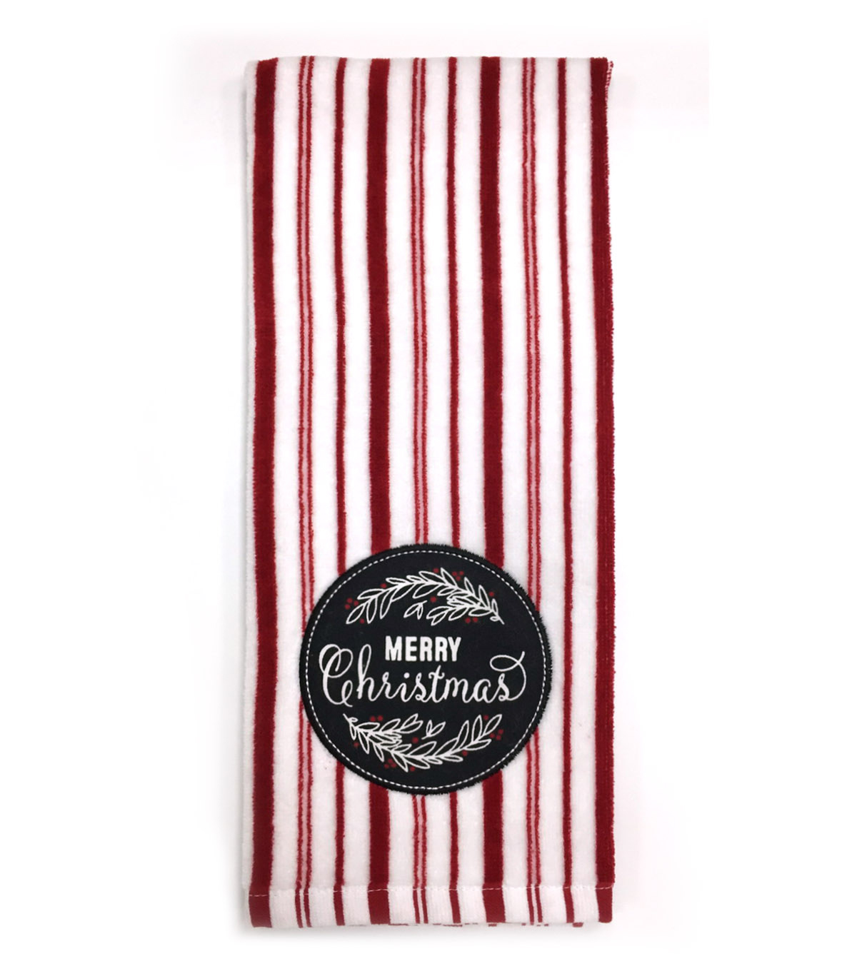Maker\u0027s Holiday Velour Terry Hand Towel-Striped & Merry Christmas