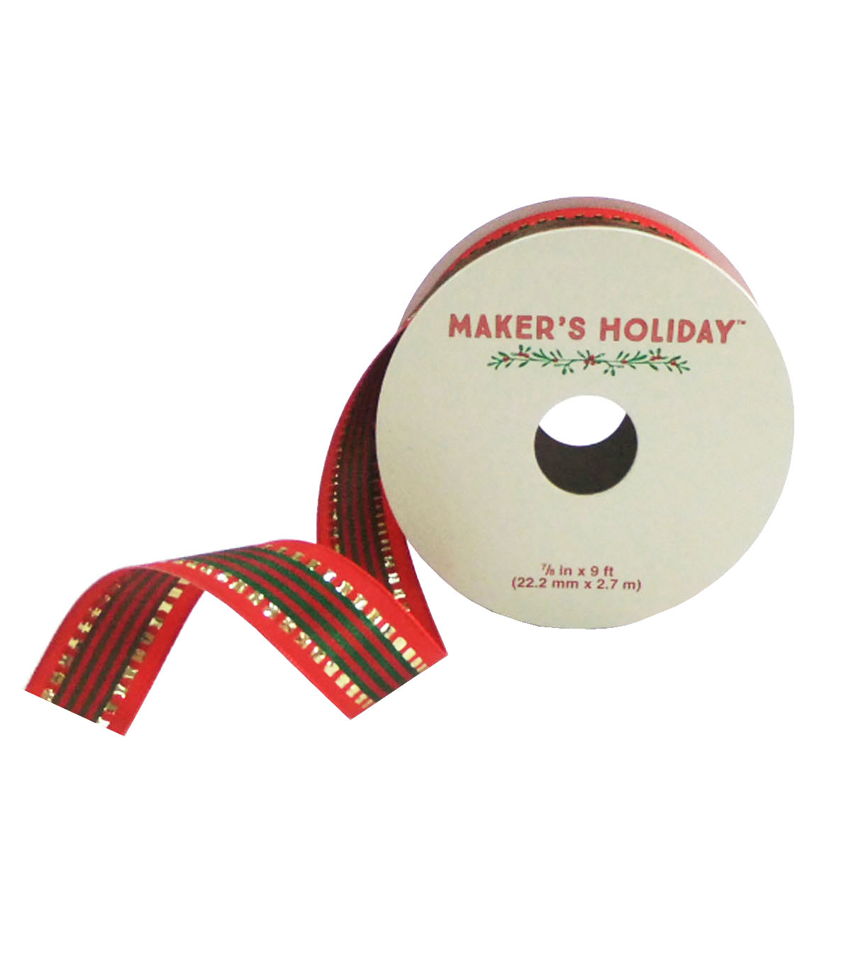 Maker\u0027s Holiday 7/8\u0027\u0027 X 9\u0027 Ribbon-Red And Green Stripe