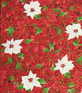Maker\u0027s Holiday Cotton Fabric 44\u0022-Packed Poinsettias