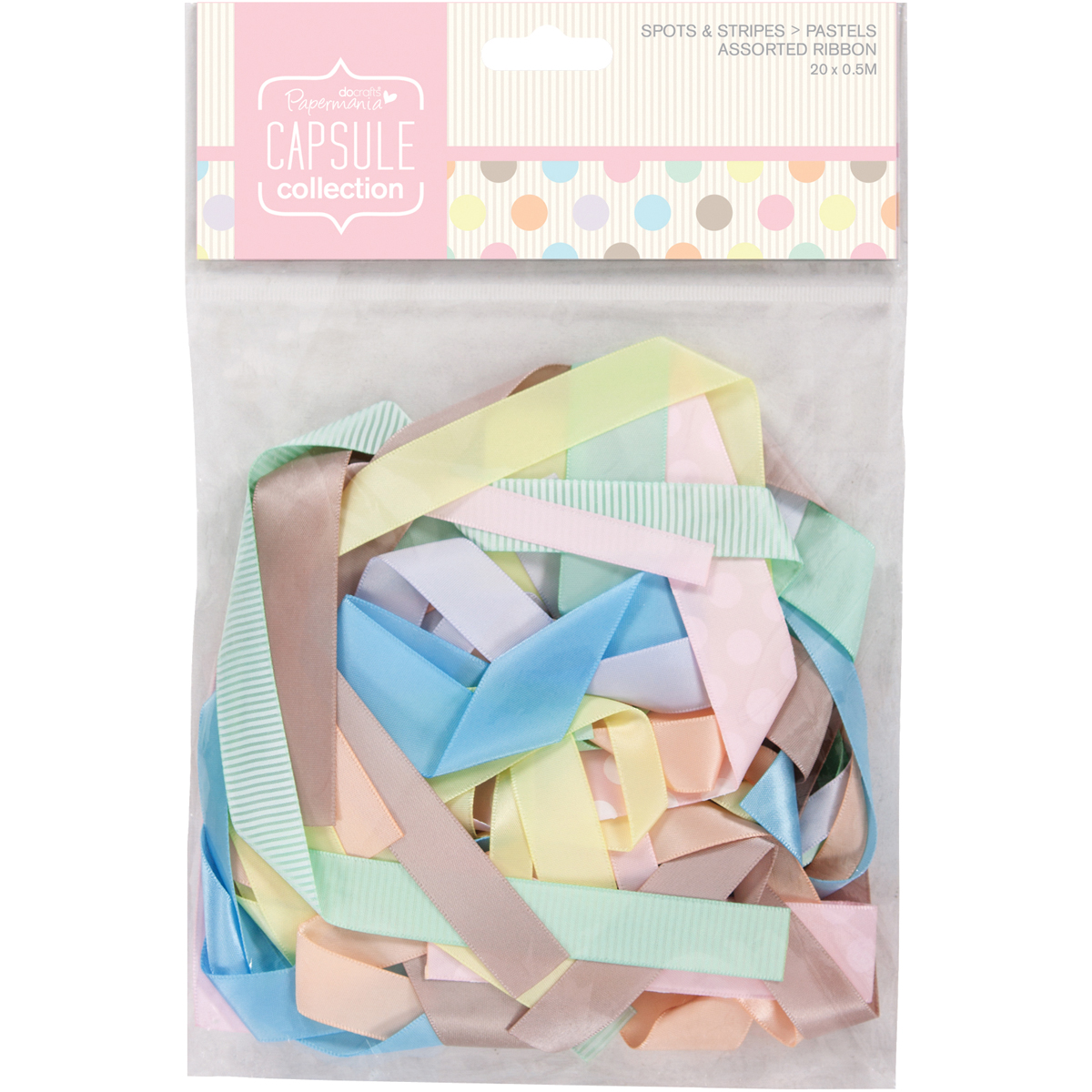 Docrafts Papermania Spots/Stripes Pastel Ribbon Assorted Prints & Solids