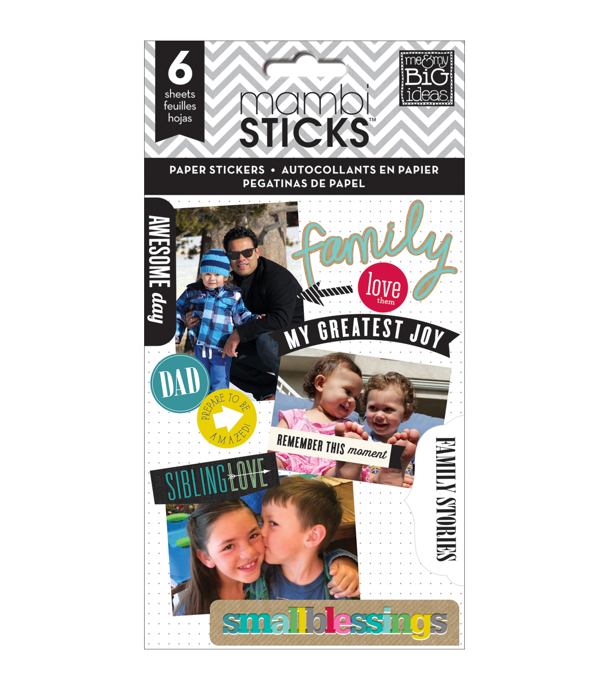 Me & My Big Ideas Mambi Sticks Family Love Clear Stickers