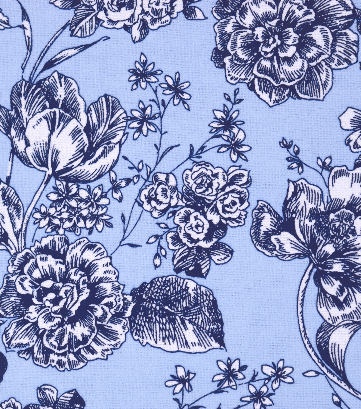 "Snuggle Flannel Print Fabric 42""-Floral On Cashmere Blue"
