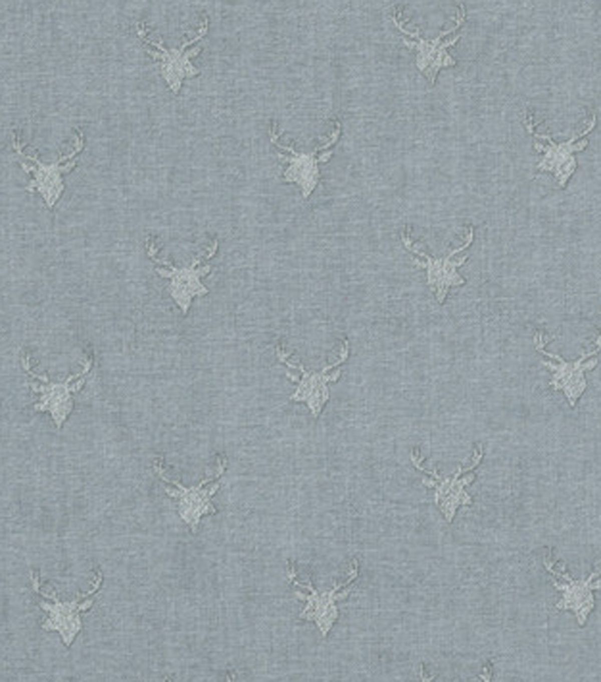 Keepsake Calico™ Cotton Fabric-Deer Heads On Gray With Silver Metallic
