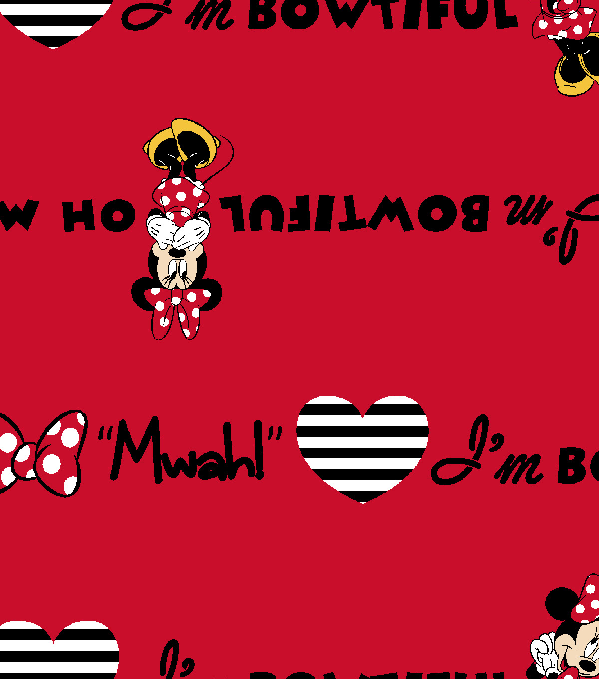 Disney® Minnnie Flannel Fabric 42\u0027\u0027-I\u0027m Bowtiful Mwah