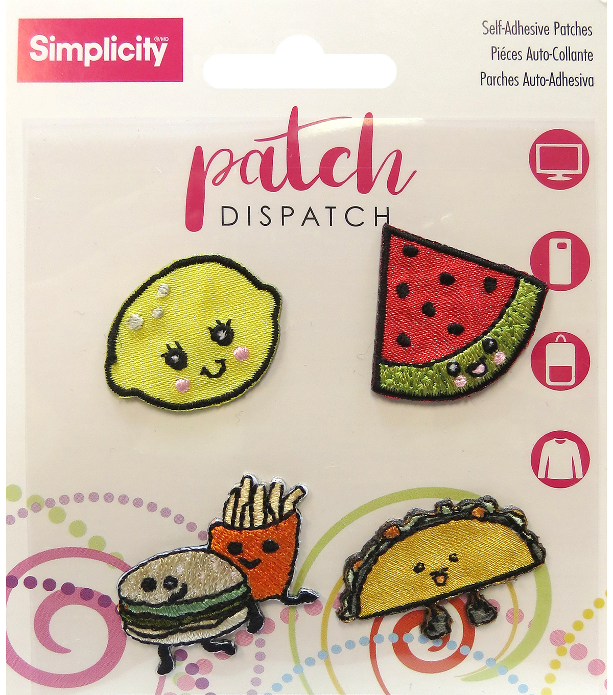 Simplicity® 4 Pack Embroidered Self-Adhesive Patches-Food
