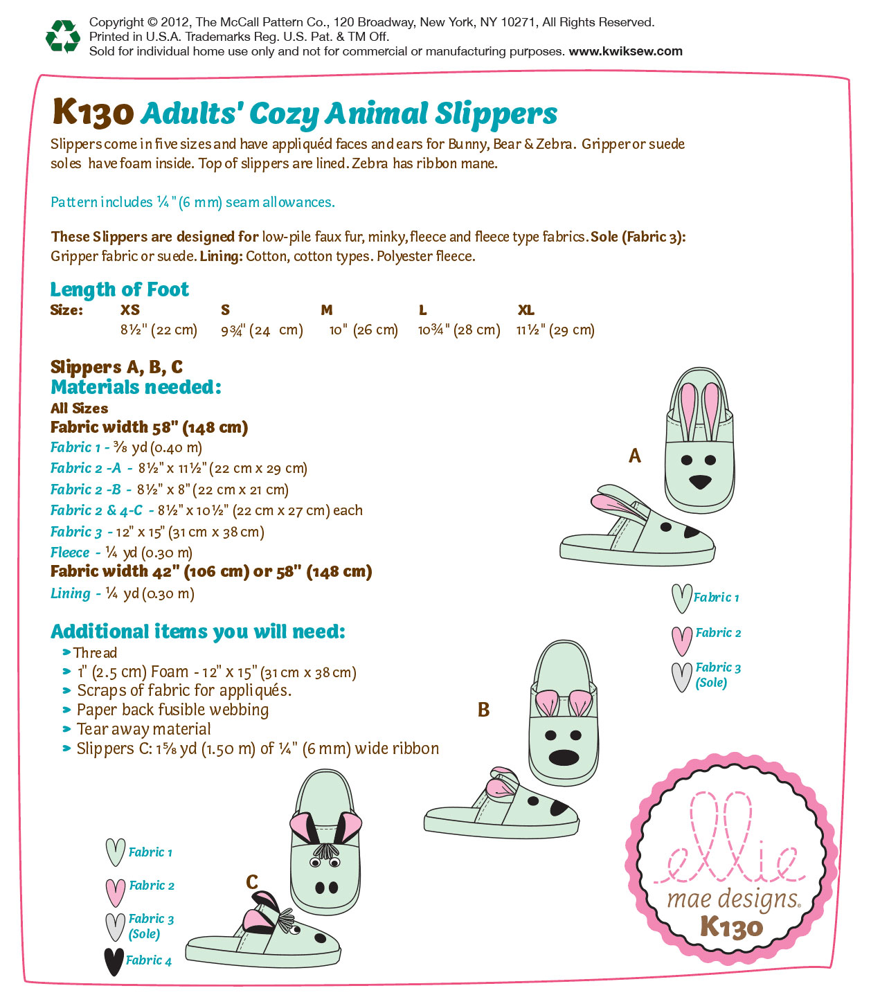 Kwik Sew Pattern K0130 Children\u0027s Animal Slippers