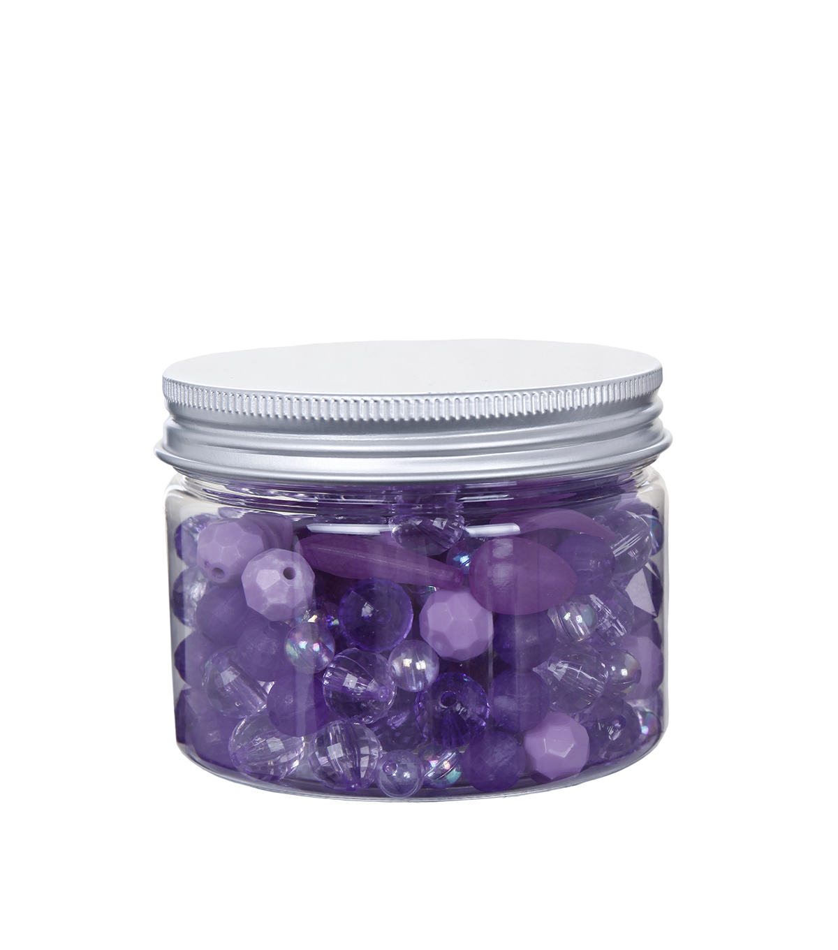 hildie & jo™ Assorted Fashion Beads in Plastic Jar-Purple & Clear