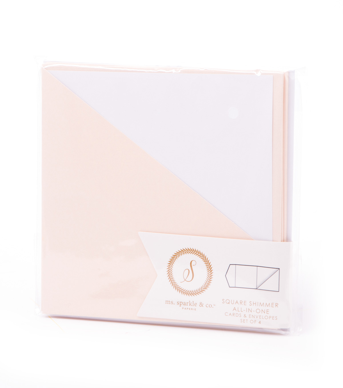 Ms. Sparkle & Co. All In One Shimmer Square Cards & Envelopes-Blush