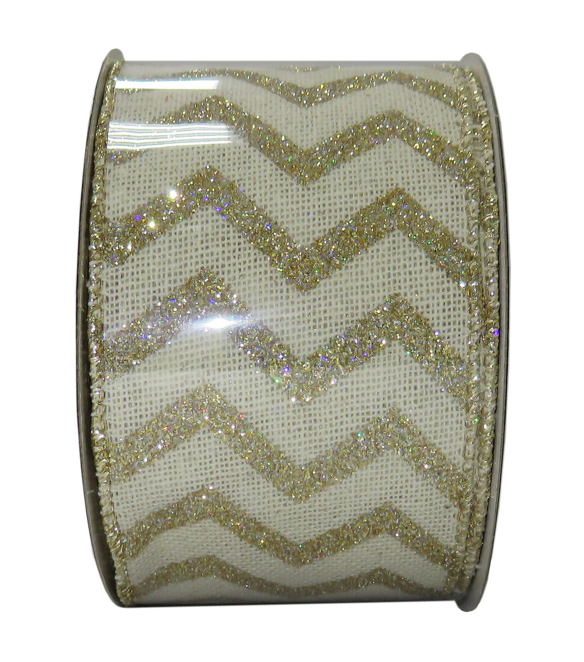Decorative Ribbon 2.5\u0027\u0027 X 15\u0027-Gold Glitter Chevron