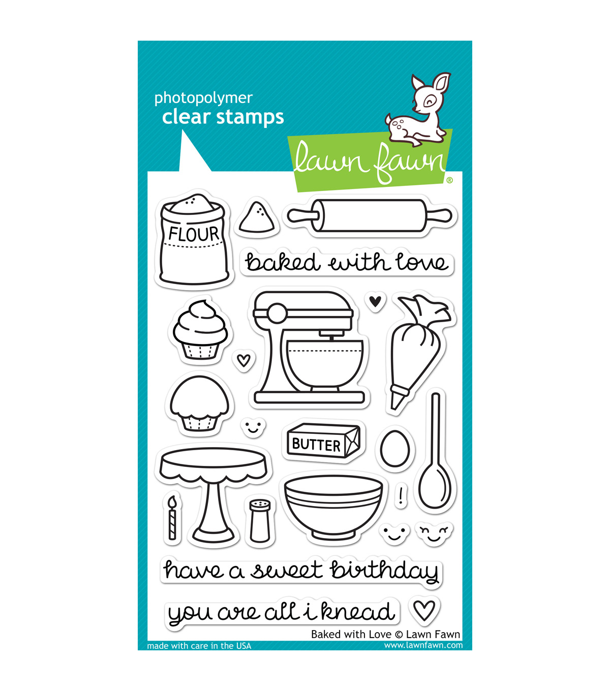 "Lawn Fawn Clear Stamps 4""X6""-Baked With Love"