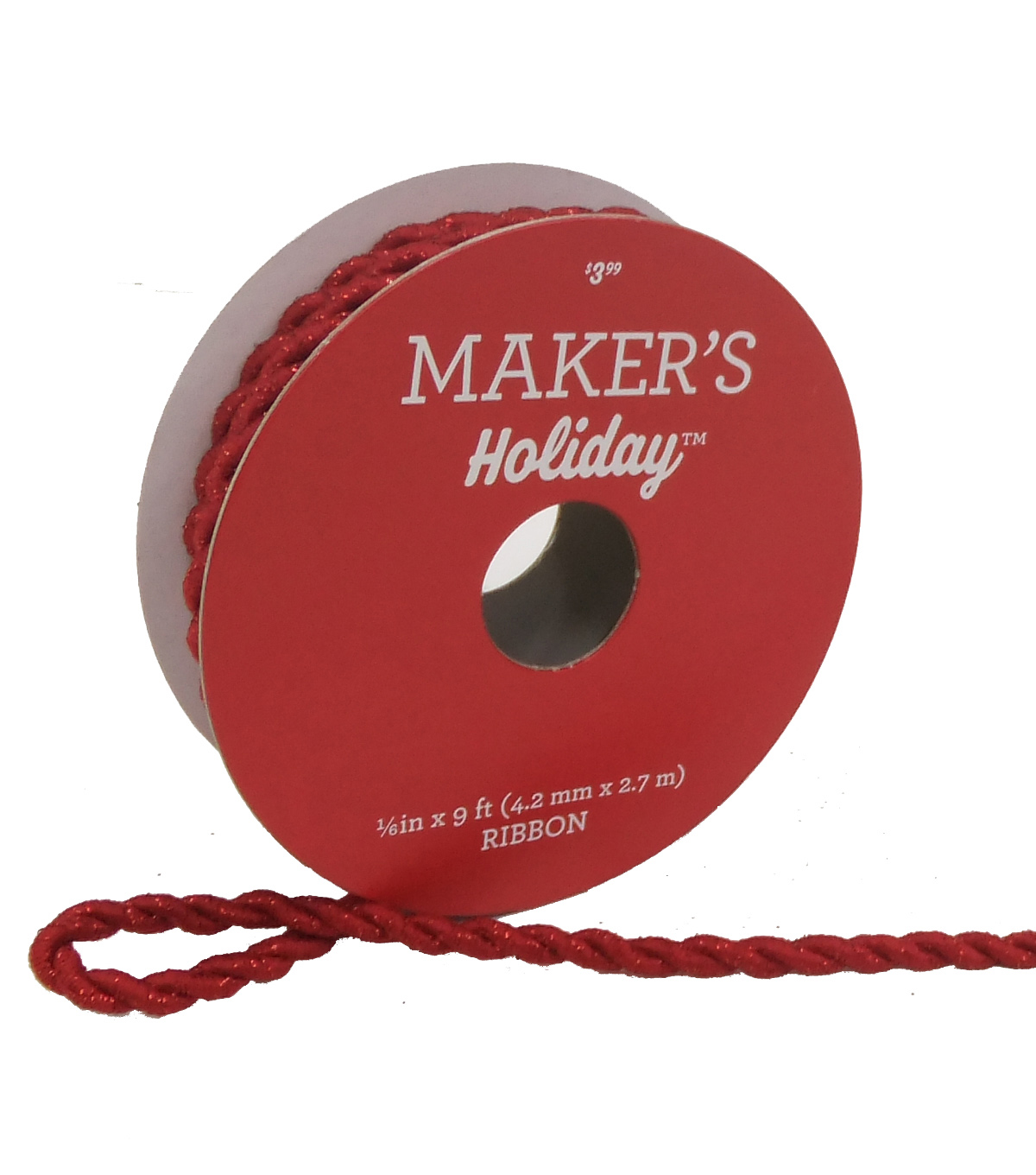 Maker\u0027s Holiday Christmas Cord Ribbon 1/6\u0027\u0027x9\u0027-Red