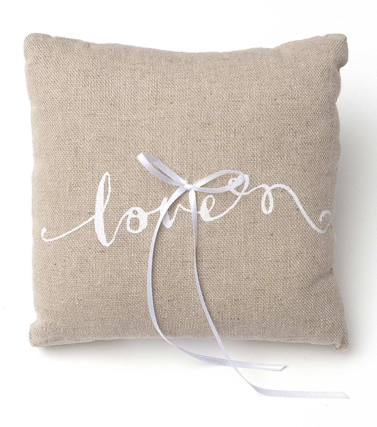 Save The Date Linen Ring Pillow-Love Script
