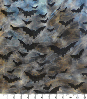 The Witching Hour Halloween Organza Fabric 57\u0022-Tie Dye and Bats