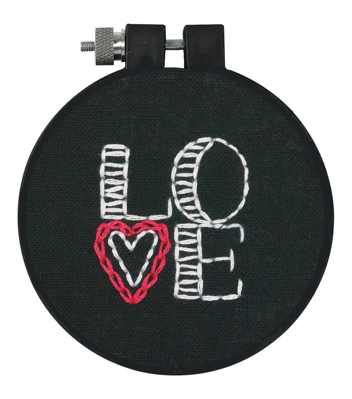 "Learn-A-Craft Love Stamped Embroidery Kit-3"" Round Stitched In Thread"