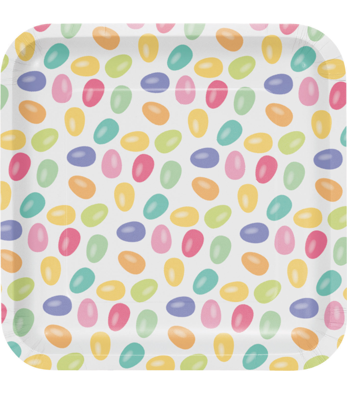 Easter Pack of 8 7'' Square Paper Lunch Plates-Jelly Bean