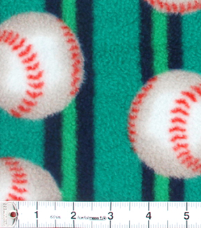 "Anti-Pill Fleece Fabric 59""-Baseball On Stripe"