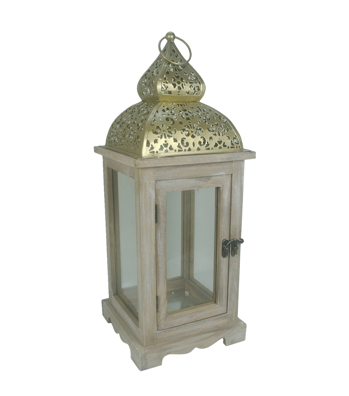 Hudson 43 Candle & Light Collection Wooden Lantern W Iron Roof Cut Out