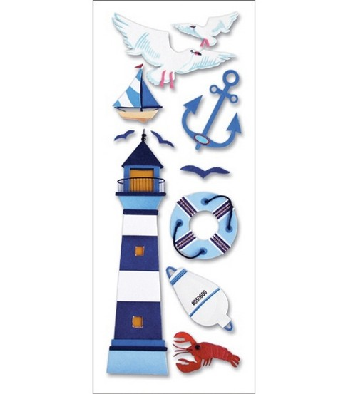 A Touch Of Jolee\u0027s A Day At The Beach Dimensional Stickers-Lighthouse