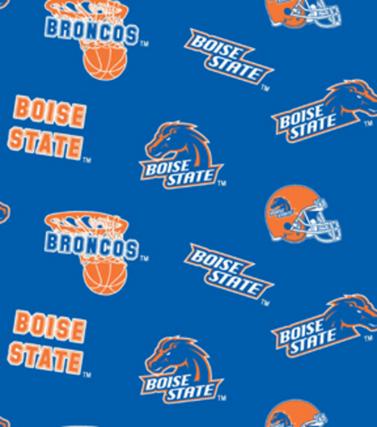 Boise State University Broncos Cotton Fabric 43\u0022-Allover