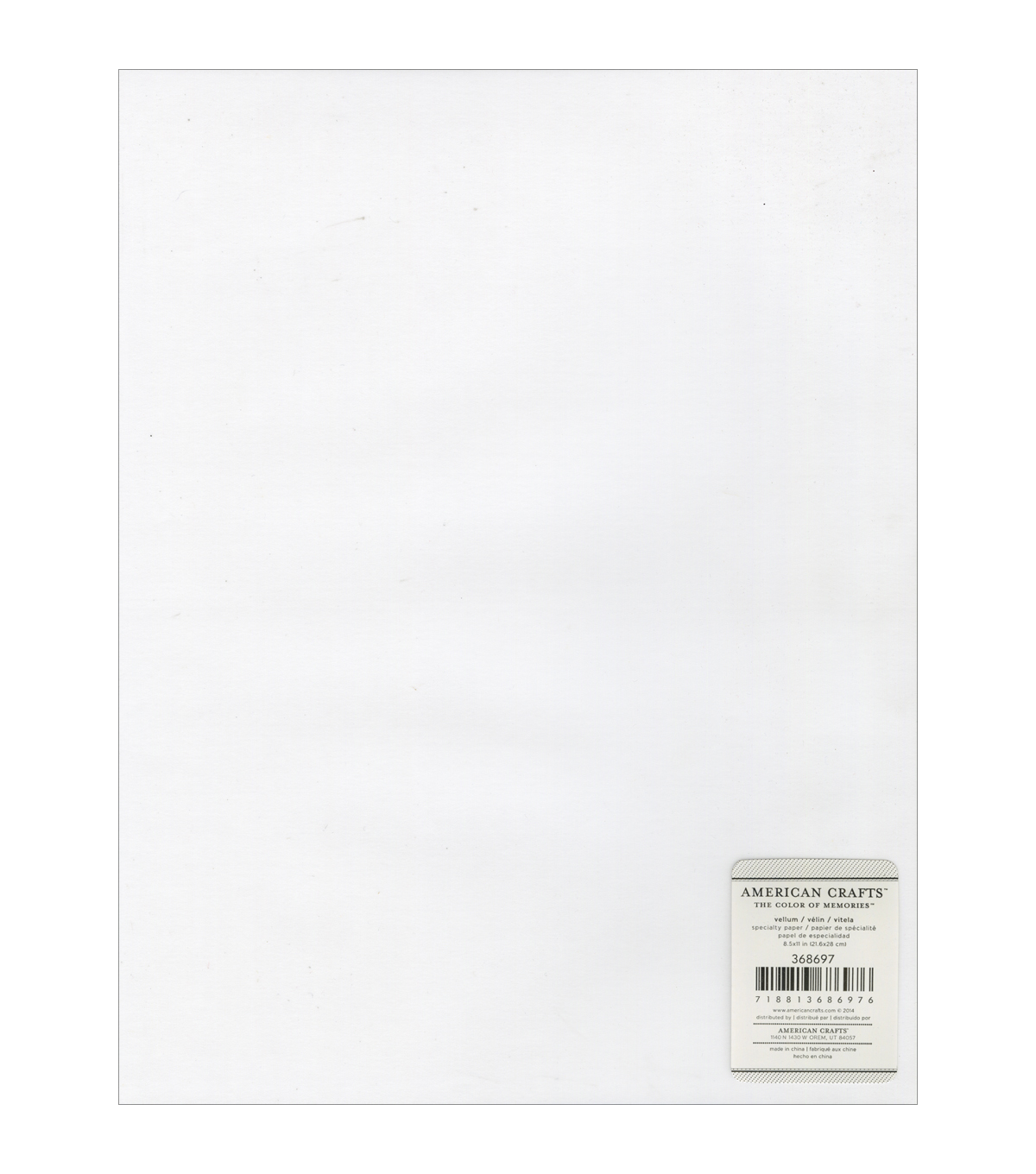 American Crafts Specialty 48lb Clear Vellum Sheet 8.5\u0027\u0027x11\u0027\u0027