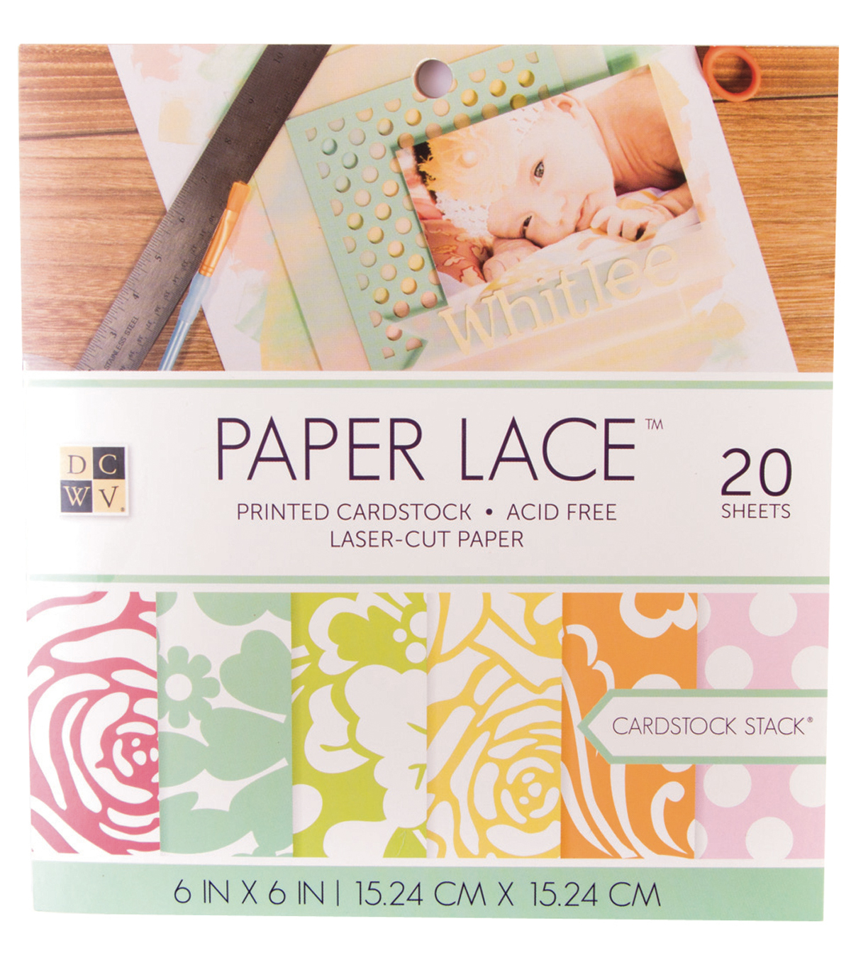 "DCWV 6""x6"" Paper Lace Double Sided Cardstock Stack"