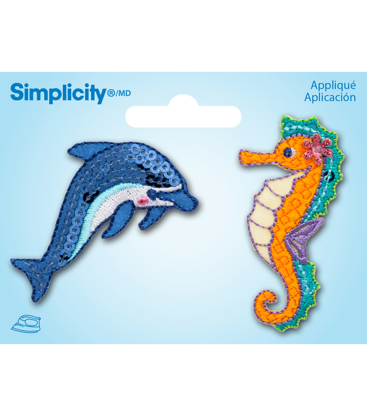 Simplicity® Iron-On Applique-2/Pkg-Dolphin & Seahorse