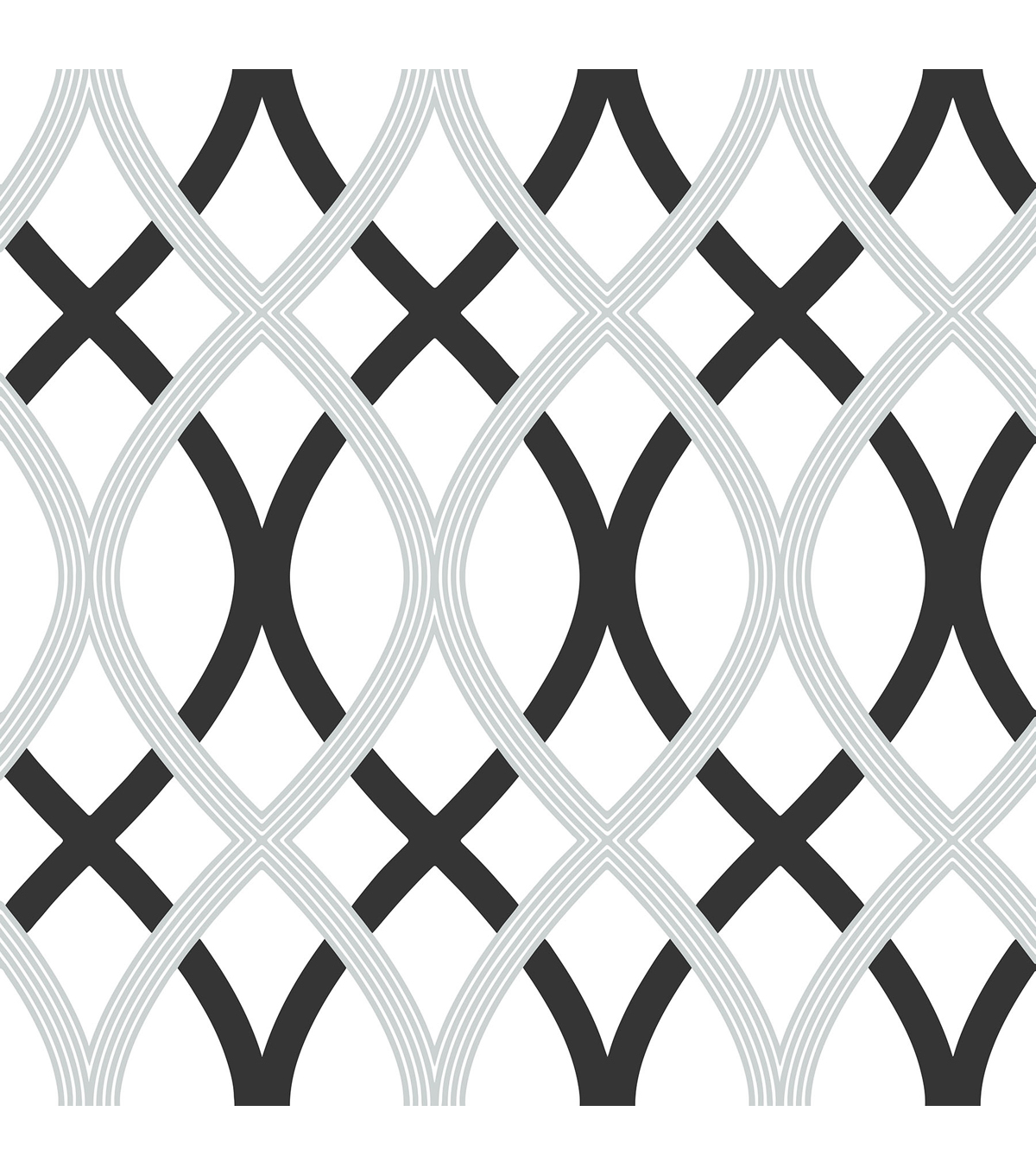 WallPops® NuWallpaper™ Black and Silver Lattice Peel And Stick Wallpaper
