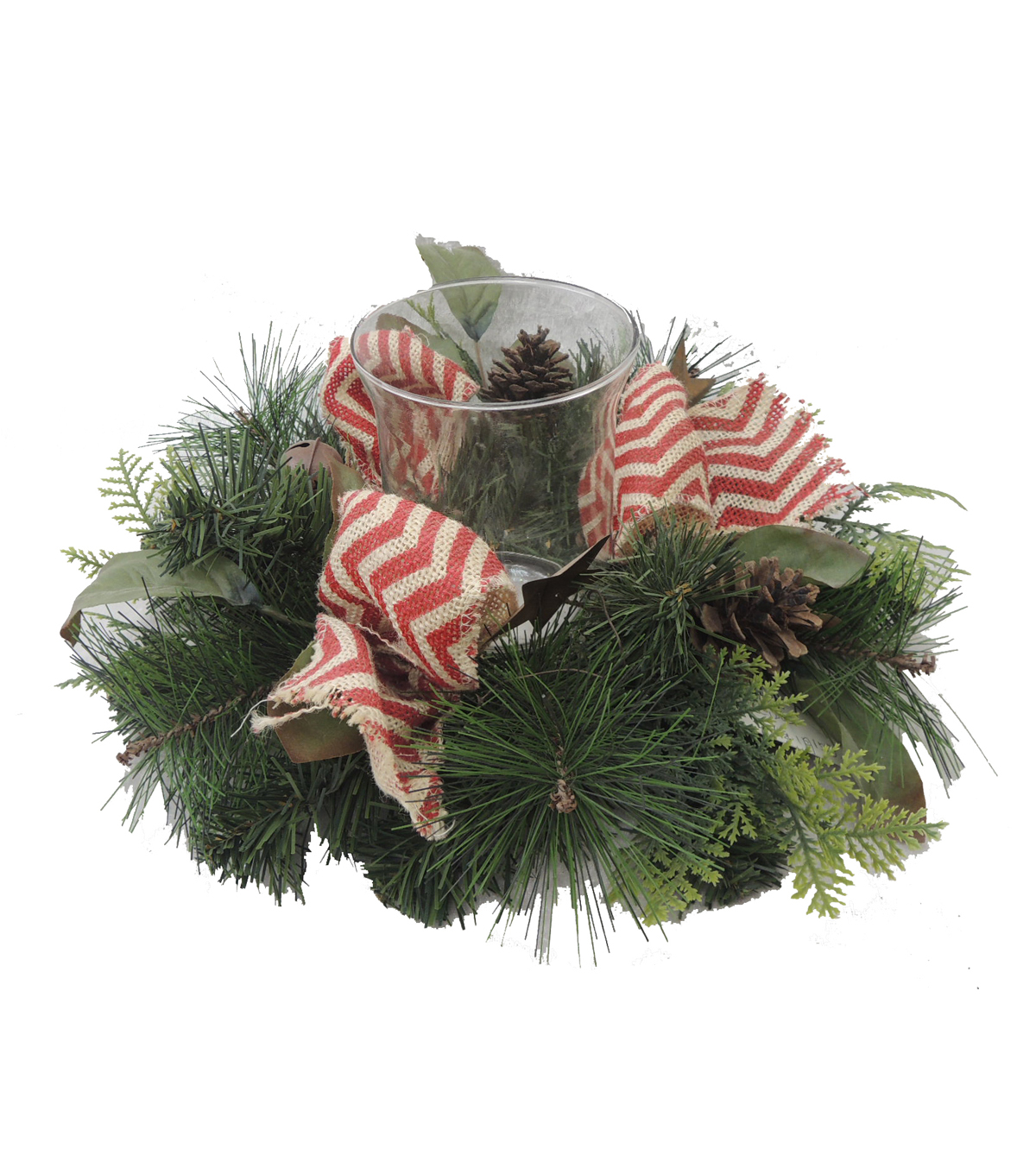 Blooming Holiday 6'' Pinecone & Star Bow Candle Holder-Green & Red