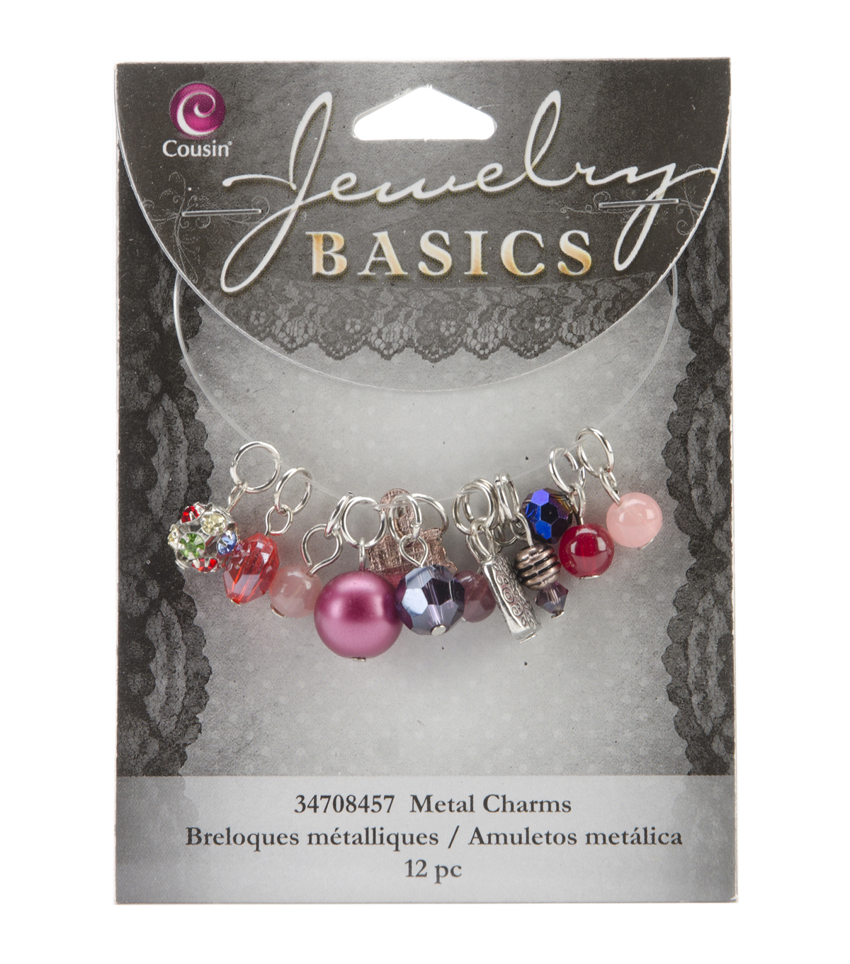 Jewelry Basics Metal Charms-Purple Glass/Metal Bead Cluster 12/Pkg