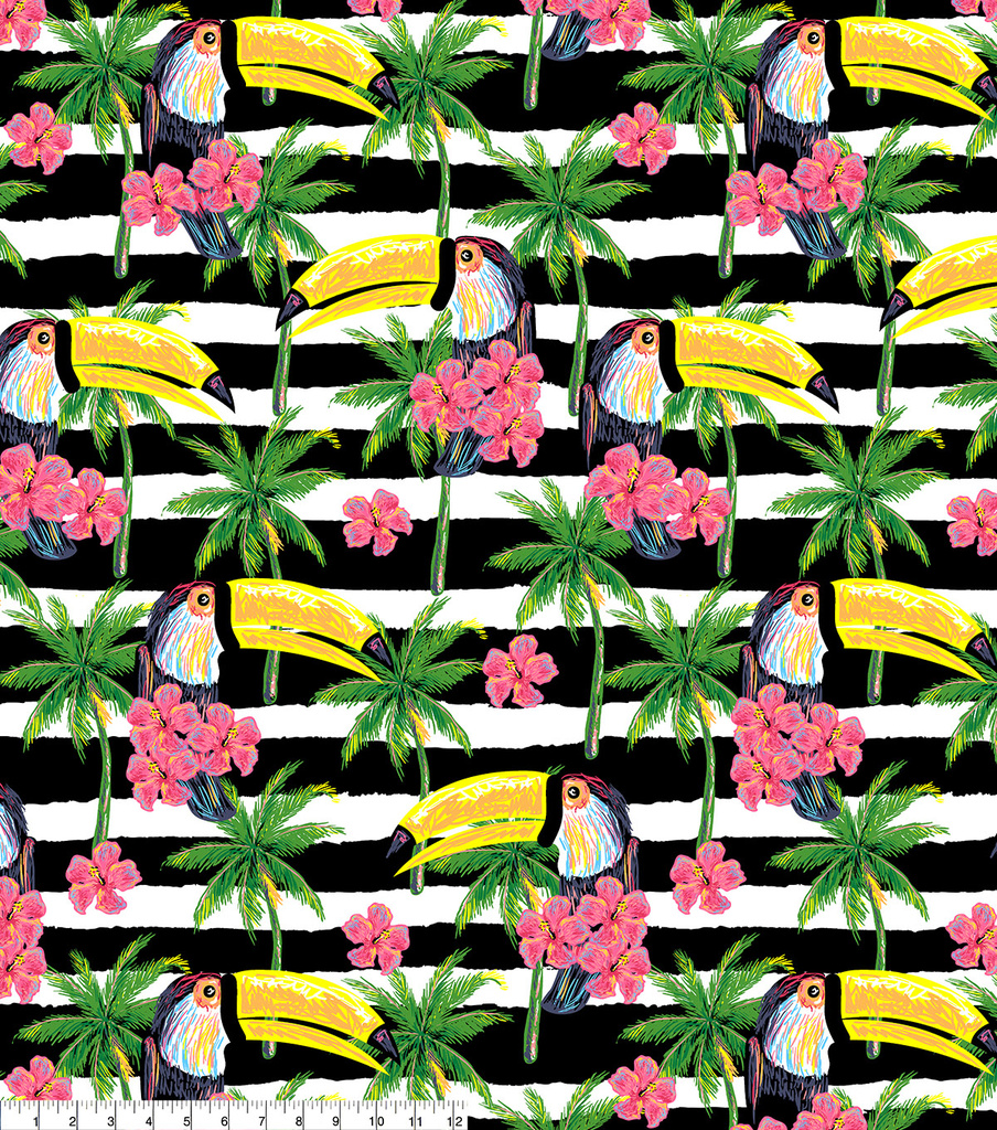 Anti-Pill Fleece Fabric 58\u0022-Toucan On Black White Stripe