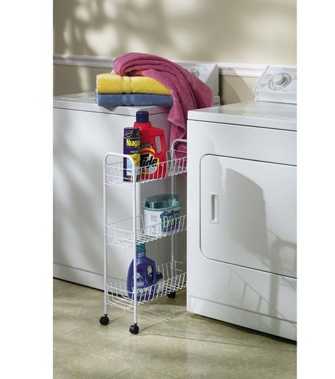 Household Essentials White 3-Tier Rolling Rack
