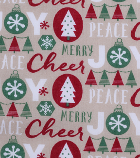 Holiday Showcase™ Christmas Cotton Fabric 43\u0027\u0027-Words on Beige
