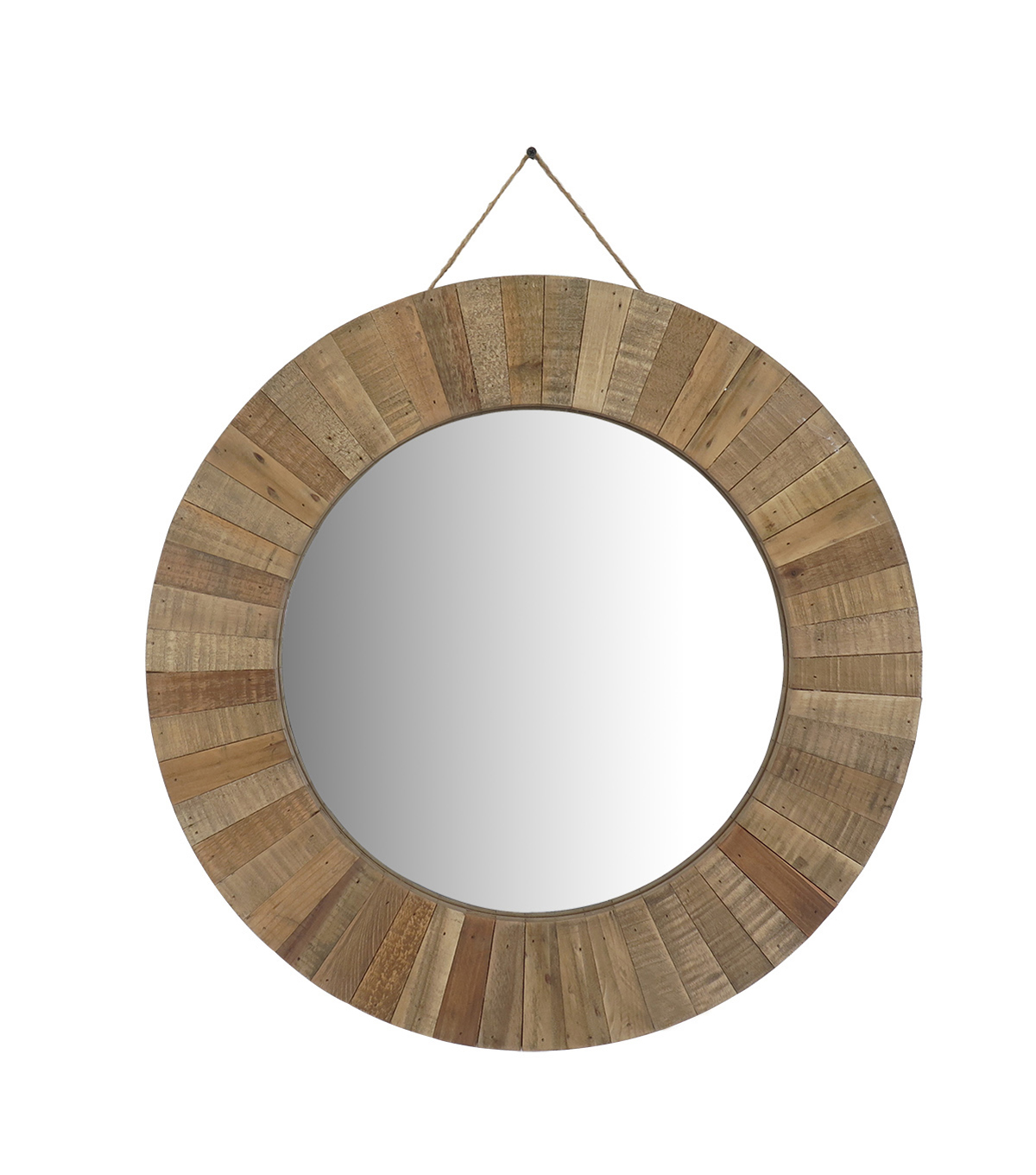 Exceptional Large Round Wood Mirror Part - 9: Summer Sol Large Round Wood Frame Mirror