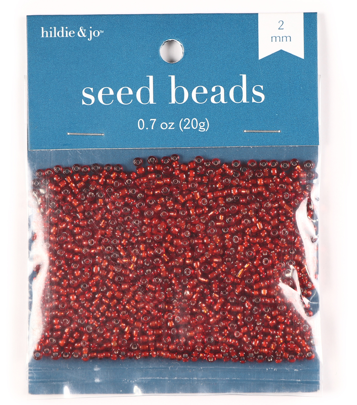 Glass Rocaille Seed Beads, Red, 20 grams