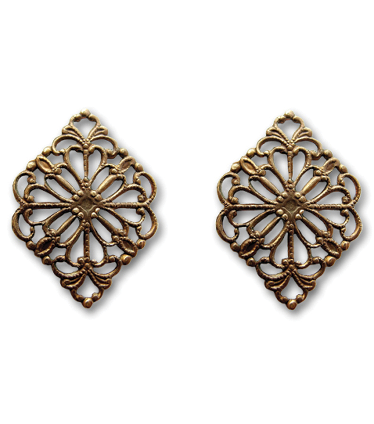 Vintaj Metal Accents-Diamond Filigree 15x21mm