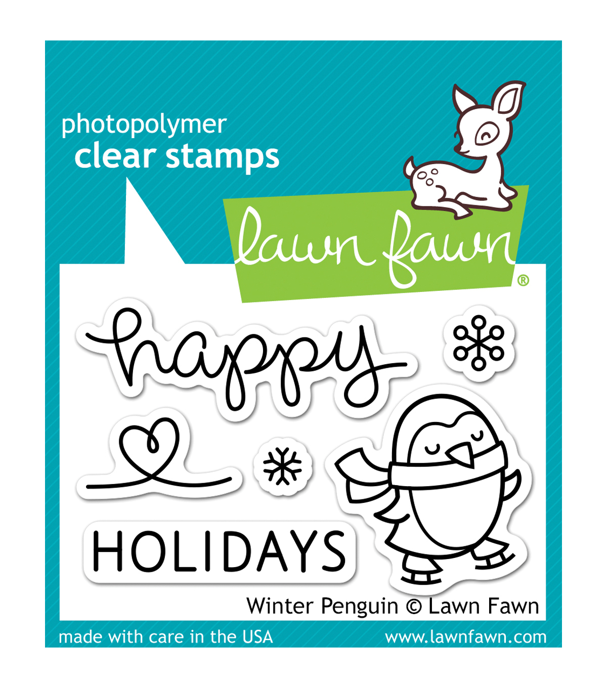 Lawn Fawn Clear Stamps 3\u0022X2\u0022-Winter Penguin